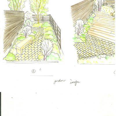 レンガアプローチと枕木テラスの庭